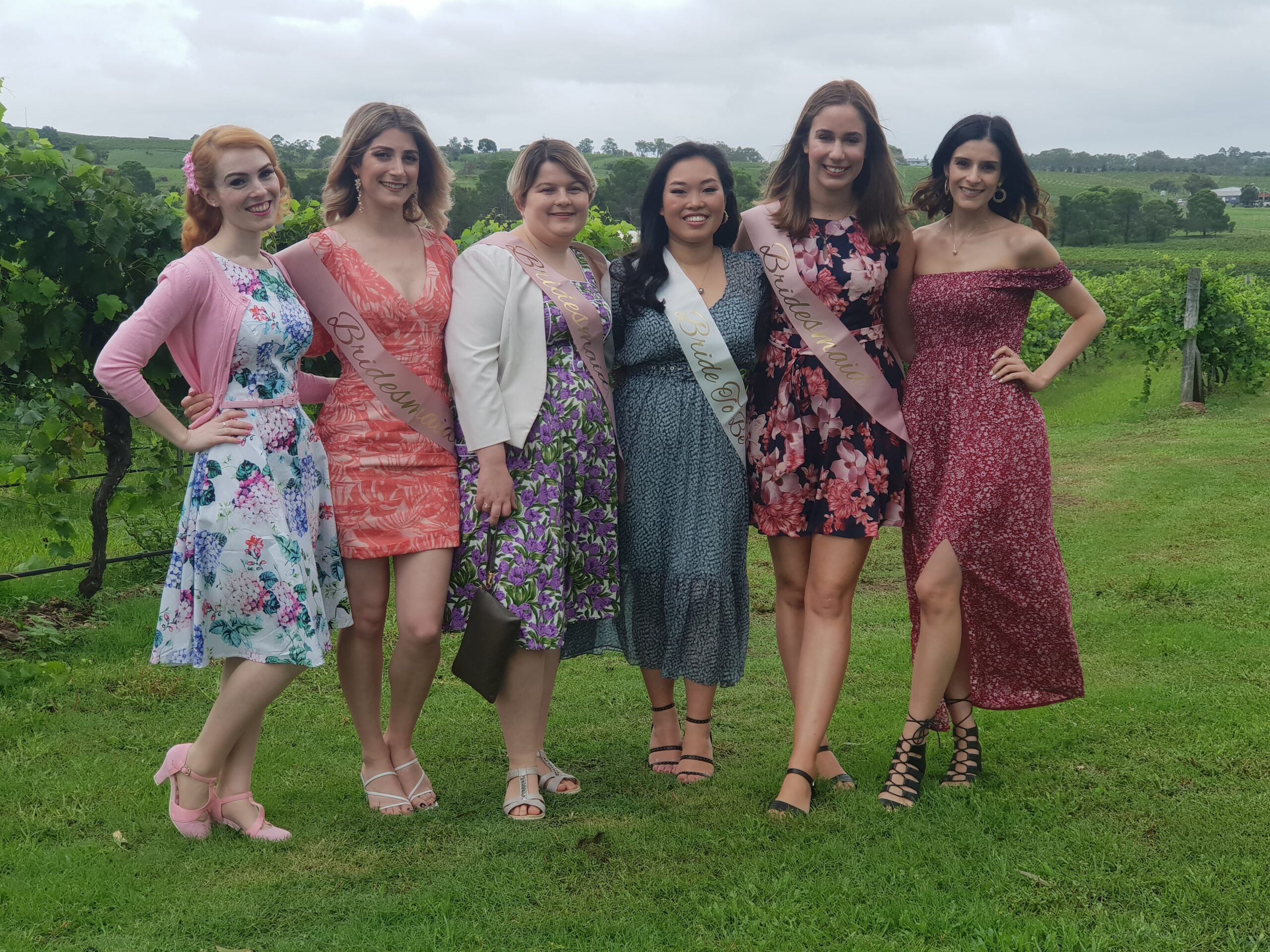 Hens Weekend with the girls at Hunter Valley, 6 girls standing in front of vineyard